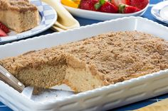 Make this irresistible and easy coffee cake for your family! This one bakes in a 9x13 pan and features a buttery, cinnamon crumb topping.