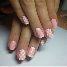 Beautiful nails 2016, Gentle summer nails, Manicure by summer dress, Nails ideas 2016, Pink dress nails, Pink nails, Polka dot nails, Shellac nails 2016
