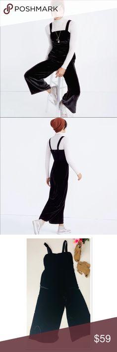 badc31cddecb Madewell Crushed Velvet Wide Leg Jumpsuit size 14 Madewell wide leg black  jumpsuit crushed velvet This