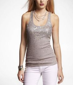 SCATTERED SEQUIN RIBBED RACERBACK TANK at Express #ExpressJeans
