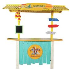 RIO Brands Surfboard Outdoor Patio Bar at Lowe's. This outdoor patio bar for your patio or backyard is filled with fun features including a surfboard bar top, land shark roof top, menu chalkboard, and 3 Outdoor Tiki Bar, Outdoor Patio Bar Sets, Patio Ideas, Outdoor Bars, Pool Ideas, Outdoor Entertaining, Outdoor Ideas, Outdoor Decor, Outside Bars