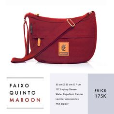 "FAIXO QUINTO SERIES IDR 175.000  FREE SHIPPING ALL OVER INDONESIA  Dimension: 35 cm x 25 cm x 7 cm 6 Litre 10"" Laptop Sleeve  Material: High Quality Canvas WR Leather Accessories YKK Zipper  #GoodChoiceforGoodLooking"