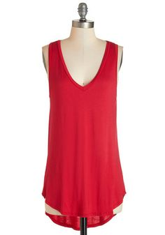 Endless Possibilities Tunic in Crimson - Red, Sleeveless, Long, Jersey, Knit, Red, Solid, Casual, Tank top (2 thick straps), Variation, Basic, V Neck