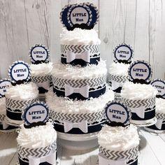 Navy & Gray Little Man Diaper Cake Centerpiece Set