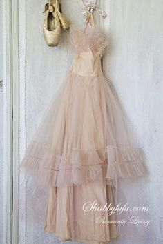 Blush Pink Vintage Prom Dress Shabby Chic Display~Via Shabbyfufu