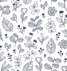 Black and white decorative floral seamless pattern vector by stolenpencil on VectorStock®