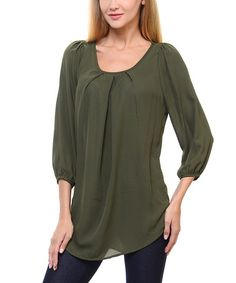 This Olive Pleated Tunic is perfect! #zulilyfinds
