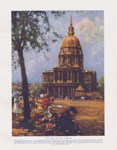 The Sylver Zone is pleased to offer:  The Dome of the Invalides - a French landscape vintage colour print  A vintage print circa 1920. Unmounted. This