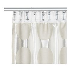 IKEA - NINNI RUND, Curtains, 1 pair, , The curtains lower the general light level and provide privacy by preventing people outside from seeing directly into the room.Jacquard weave gives a pattern that is both matt and glossy and is inverted on the other side of the curtain.The curtains can be used on a curtain rod or a curtain track.The heading tape makes it easy for you to create pleats using RIKTIG curtain hooks.You can hang the curtains on a curtain rod through the hidden tabs or with…
