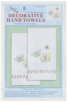 #JACK DEMPSEY-Stamped #Needle Art: Fluttering Butterflies Decorative Hand Towels. This package contains 1 pair of 17 inch by 28 inch white cotton/poly towels stam...