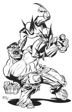 Hulk vs Wolverine by Bruce Timm