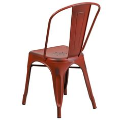 Distressed Kelly Red Metal Indoor Stackable Chair, ET-3534-RD-GG by Flash Furniture | BizChair.com