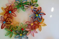 toilet paper roll tubes made into a colorful wreath.  so quick, easy and inexpensive to make!