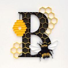 Beehive Design, Bee Design, Monogram Wall Art, Letter Wall Art, Letter Monogram, Bee Pictures, Picture Letters, Bee Crafts, Quilling Designs