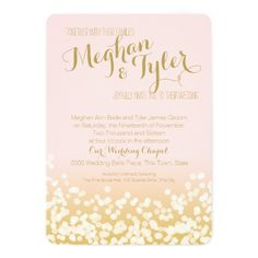 Pink Wedding Invitations Blush Pink and Gold Sparkle Wedding Card