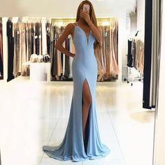 Blue Spandex Prom Dress with Split