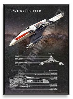 E-Wing Fighter, Star Wars Poster, which Disney subsequently deleted from Star Wars episode VII