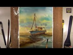 Watercolor Painting Fishing boat on Beach Demonstration - YouTube