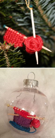 Free Knitting Pattern for WIP Ornament- Quick easy project for a holiday ornament or gift using basic toothpicks and beads for knitting needles. Takes 15 minutes according to Ravelrers. Designed by Allison Griffith. If you're really ambitious, you can slip your WIP into a glass ornament as laurelendili did. Other pictured project by peggysr