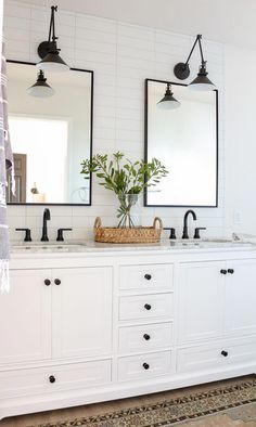 Home Interior Bedroom Modern Farmhouse Master Bathroom Renovation with Delta: The Process & Reveal.Home Interior Bedroom Modern Farmhouse Master Bathroom Renovation with Delta: The Process & Reveal Bathroom Vanity Decor, Bathroom Renos, Bathroom Interior, Bathroom Remodeling, Remodeling Ideas, Remodel Bathroom, Bathroom Modern, Bathroom Hardware, Bathroom Fixtures