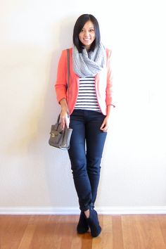 Pink Blazer, Striped Shirt, Infinity Scarf - Putting Me Together: Bright Blazer for Winter