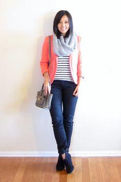Pink Blazer, Striped Shirt, Infinity Scarf - Putting Me Together: Bright Blazer for Winter