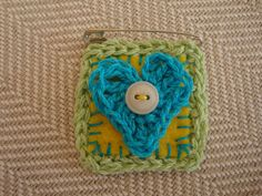 crocheted heart brooch heart crocheted pin by ContainedHappiness