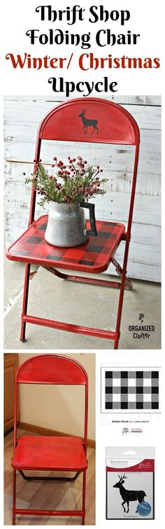 Thrifted Vintage Child's Folding Chair to Winter/Christmas Decor #stencil #oldsignstencils #vintage #chairlove #buffalocheck #rusticChristmas #upcycle