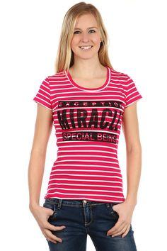 03c4002049c9 Dámské proužkované tričko s krátkým rukávem a s potiskem