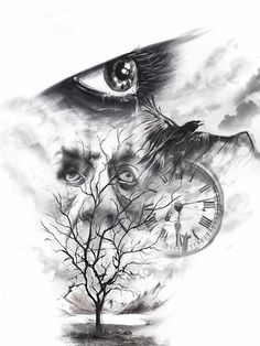 photoshop, tattoo Sketch, tree, lake, mountains, eye, Burtscher N.