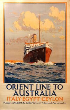 Australia Orient Line Italy Egypt Ceylon, 1920s - original vintage poster by Herbert Kerr Rooke listed on AntikBar.co.uk