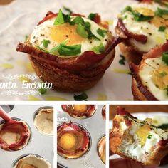 Que tal servir ovos saborosos embrulhados em um pequena cesta crocante de pão,  envoltos por uma deliciosa fatia de bacon? Bem ao estilo americano? Muito fáceis de fazer, são a pedida ideal para um 'brunch', aquele café da manhã tardio, servido quase na hora do almoço. Passo passo completo no blog