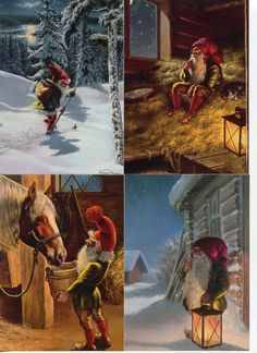 4 NEW Assorted Swedish Christmas Postcards by Anders Olsson Tomte Gnome www.giftchaletauburn.com
