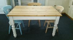 """Reclaimed pine 4ft 6"""" x 3ft table on 4"""" turned legs painted with waxed top."""