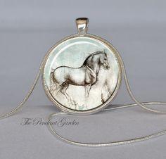 DA VINCI Horse Pendant Leonardo Da Vinci Necklace Aqua Rose Gray Horse Jewelry Horse Necklace Da Vinci Drawing Horse Art Pendant. $12.95, via Etsy.