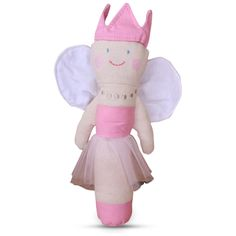 PRINCESS FAIRY RATTLE In her Pink tutu, Pink Crown and White Wings, the linen Princess Fairy Rattle is every little girl's dream…. Even newborns! Length - 22cm. Suitable for ages 0+