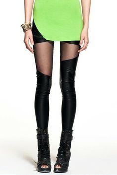 asymmetric, mesh, leggings, black
