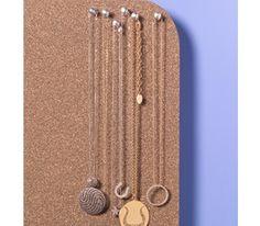 Corkboard as Jewelry Organizer