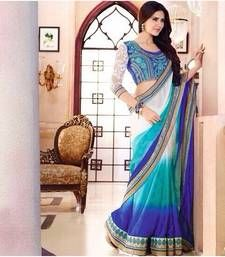 Buy Designer Blue Shaded Satin Chiffon Saree with Multi work on Saree & Dupion Blouse designer-embroidered-saree online