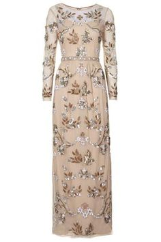Sequin & Bead Embellished Maxi Dress | Nude Peach Blush Tones With Metallics | Limited Edition by TopShop |