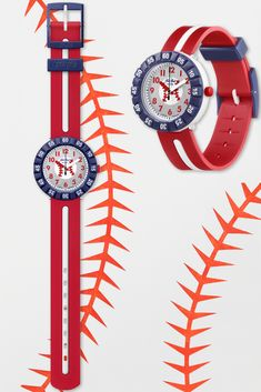 Looking for a gift for kids that will score a HOME RUN (ZFCSP101)? Look no further. This baseball themed Swiss watch for kids is sure to earn you plenty of cool points thanks to its hip red, white and blue design, rotating bezel and digital printed dial. BPA free parts and a shock and water resistant case will keep it ticking no matter what. Swiss Watch, Blue Design, Gifts For Kids, Swatch, Running, Baseball, Cool Stuff, Printed, Digital