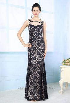 Luxury Illusion Boat Neckline Black Lace Appliques Long Prom Dresses