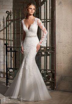 Wedding Dress 2701 Venice Lace Appliques on Net with Diamante Beaded Trim