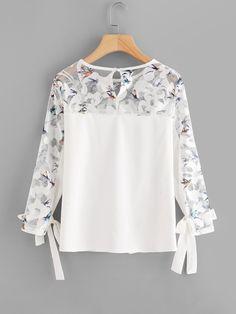 Contrast Lace Knot Cuff Blouse -SheIn(Sheinside)