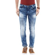 Blue Skinny Jeans with Smoke Wash