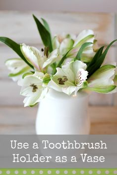 Use a toothbrush holder as a pretty vase . The holes can be used for holding up flowers and greens.