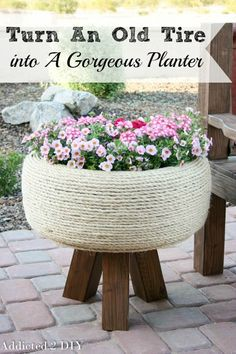 This planter is GORGEOUS! The tutorial is simple to follow and it's hard to believe it's actually an old tire! #oldtiresturnnew #mydiscounttire #spon #discounttire #americastire