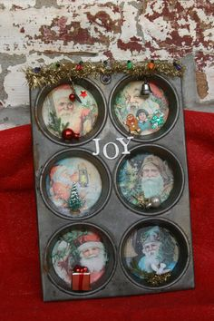 Old repurposed   vintage muffin tin Christmas by MabelJanesMuse