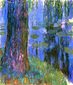 """""""Claude Monet (French, Saule pleureur et bassin aux nymphéas [Weeping Willow and Pond with Water Lilies], Giverny, Oil on canvas, 199 x 180 cm. Claude Monet, Monet Paintings, Landscape Paintings, Landscapes, Artist Monet, Weeping Willow, Lily Pond, Edgar Degas, Impressionist Paintings"""