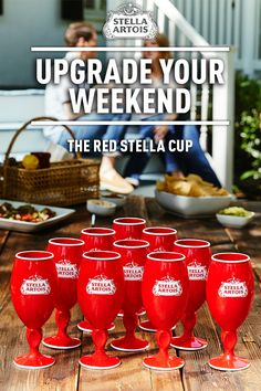 The Red Stella Cup is the perfect way to summer in style. Get yours at www.stellaartois.com/redstellacup Hey Bartender, Stella Artois, Fancy Drinks, Cocktail Menu, Party Cups, Summer Parties, Winter Fun, Diy Food, Cocktails